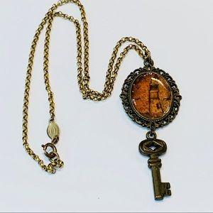Catherine Popesco retro key pendant Italy gold